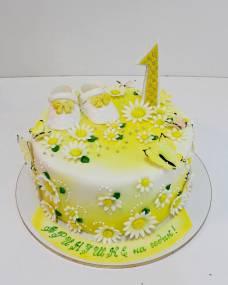 Детский торт Ромашки-бабочки