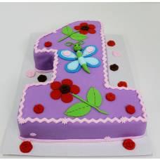 Детский торт Единичка с бабочкой