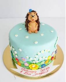 Детский торт Ежик в цветочках