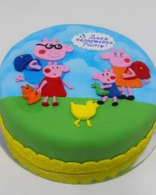 Детский торт Пеппа на полянке