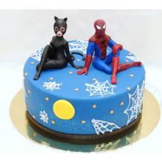Детский торт Спайдермен и кошка