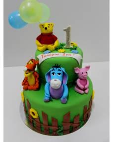 Детский торт Винни-Пух на поляне