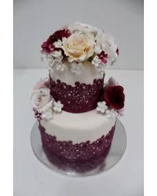 Свадебный торт Розы бордо