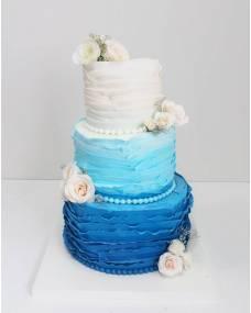Свадебный торт Синий Омбре 2