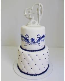 Свадебный торт Синий ажур
