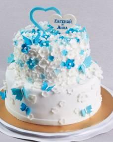 Свадебный торт Бабочки в цветах