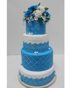 Свадебный торт Хризантемы и розы