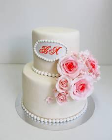 Свадебный торт Коралловые розы