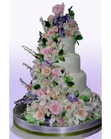 Свадебный торт Цветочный каскад