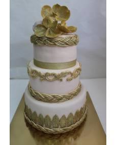 Свадебный торт Золотые орхидеи