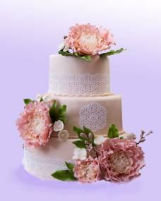 Свадебный торт Пионы в кружевах