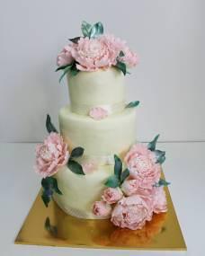 Свадебный торт Розовые пионы