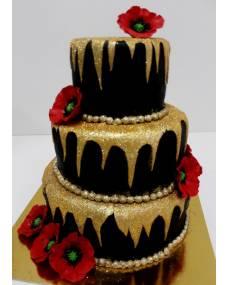 Свадебный торт Маки на золоте