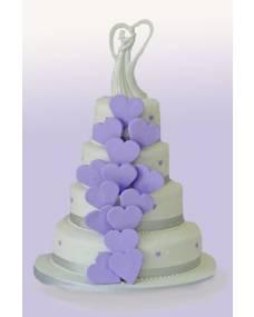 Свадебный торт Сиренивые сердца
