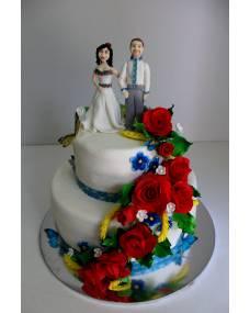 Свадебный торт Красные розы