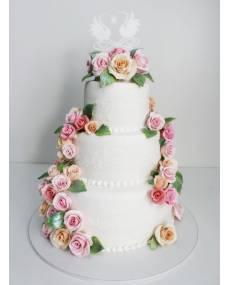 Свадебный торт Веточки роз