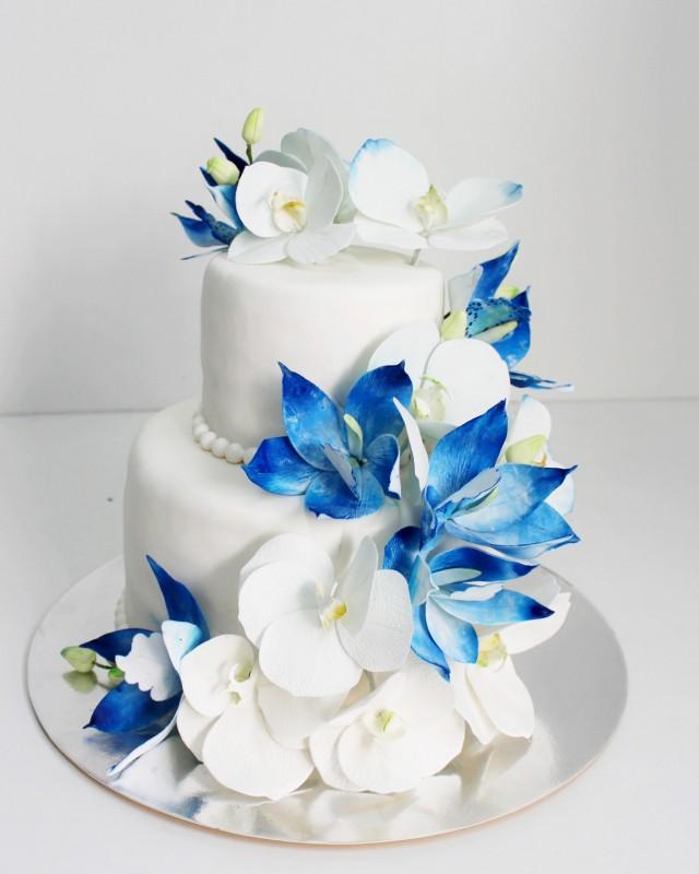Торты свадебные голубые